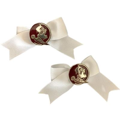 Florida State Pin Wheel Hair Bow with Tail (Pair)