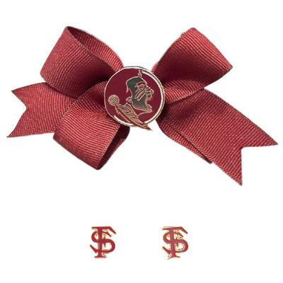 Florida State Large Hair Bow and Earring Set