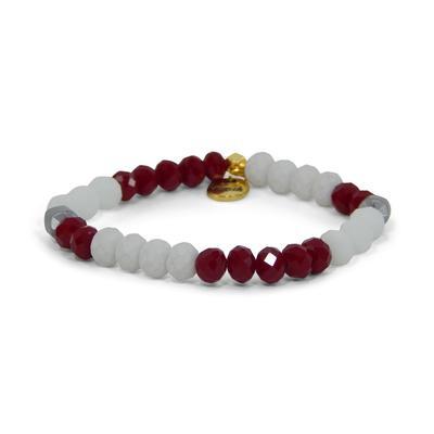 Erimish Maroon and White Kenny Stackable Bracelet