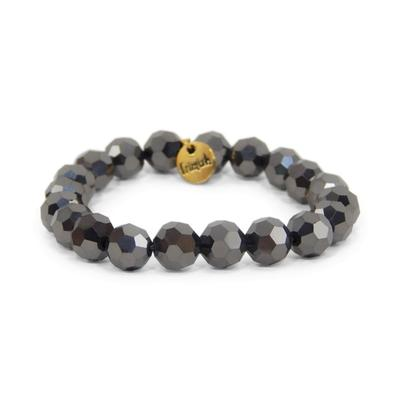 Erimish Smokey Black Mirrorball Stackable Bracelet