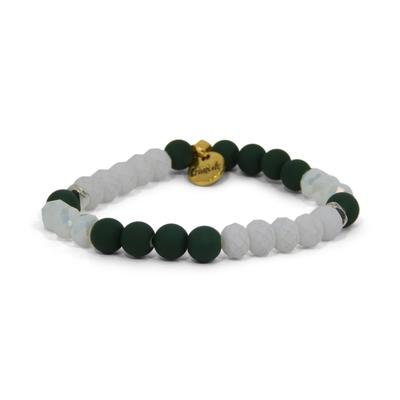 Erimish Hunter Green and White Tom Stackable Bracelet