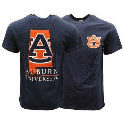 Auburn Basic State Outline Inside Logo Tee