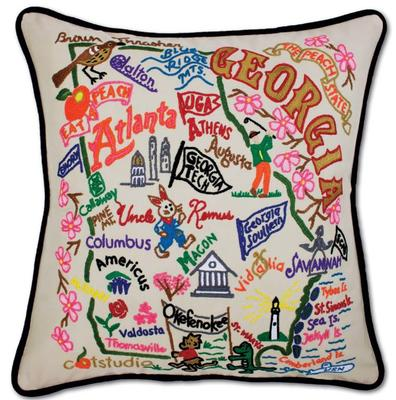 State of Georgia Hand Embroidered Pillow