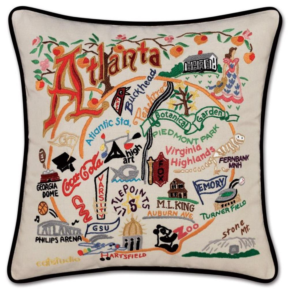City Of Atlanta Hand Embroidered Pillow