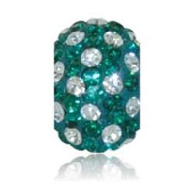 Sparkle Life Emerald And White Polka Dot Crystal Bead