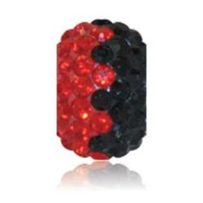 Sparkle Life Red and Black Zig Zag Crystal Bead