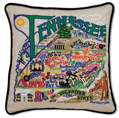 State Of Tennessee Hand Embroidered Pillow