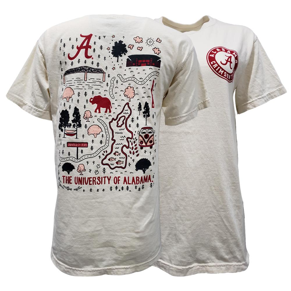 Crimson Tide- Alabama Comfort Colors Campground Campus Map Tee ...