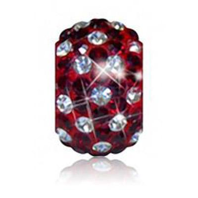 Sparkle Life Siam Red and White Polka Dot Crystal Bead