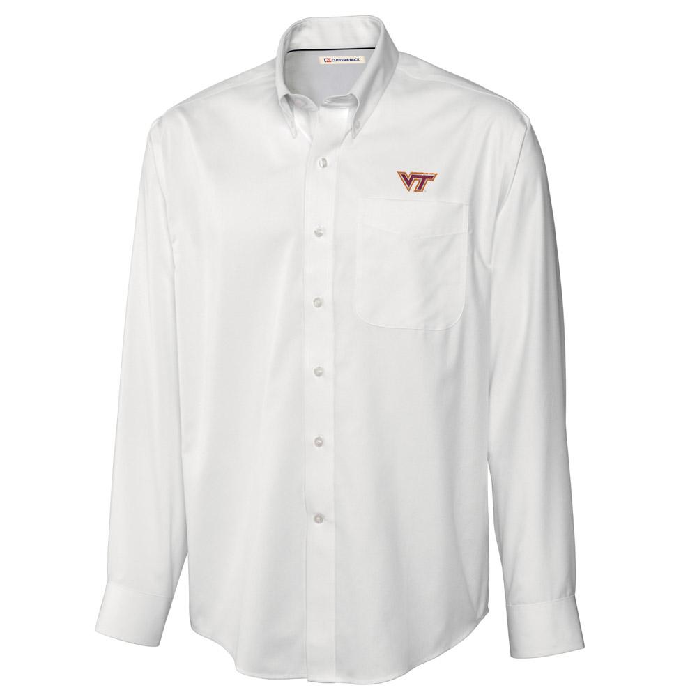 Virginia Tech Cutter And Buck Big And Tall Fine Twill Button Down *** Custom Order ***
