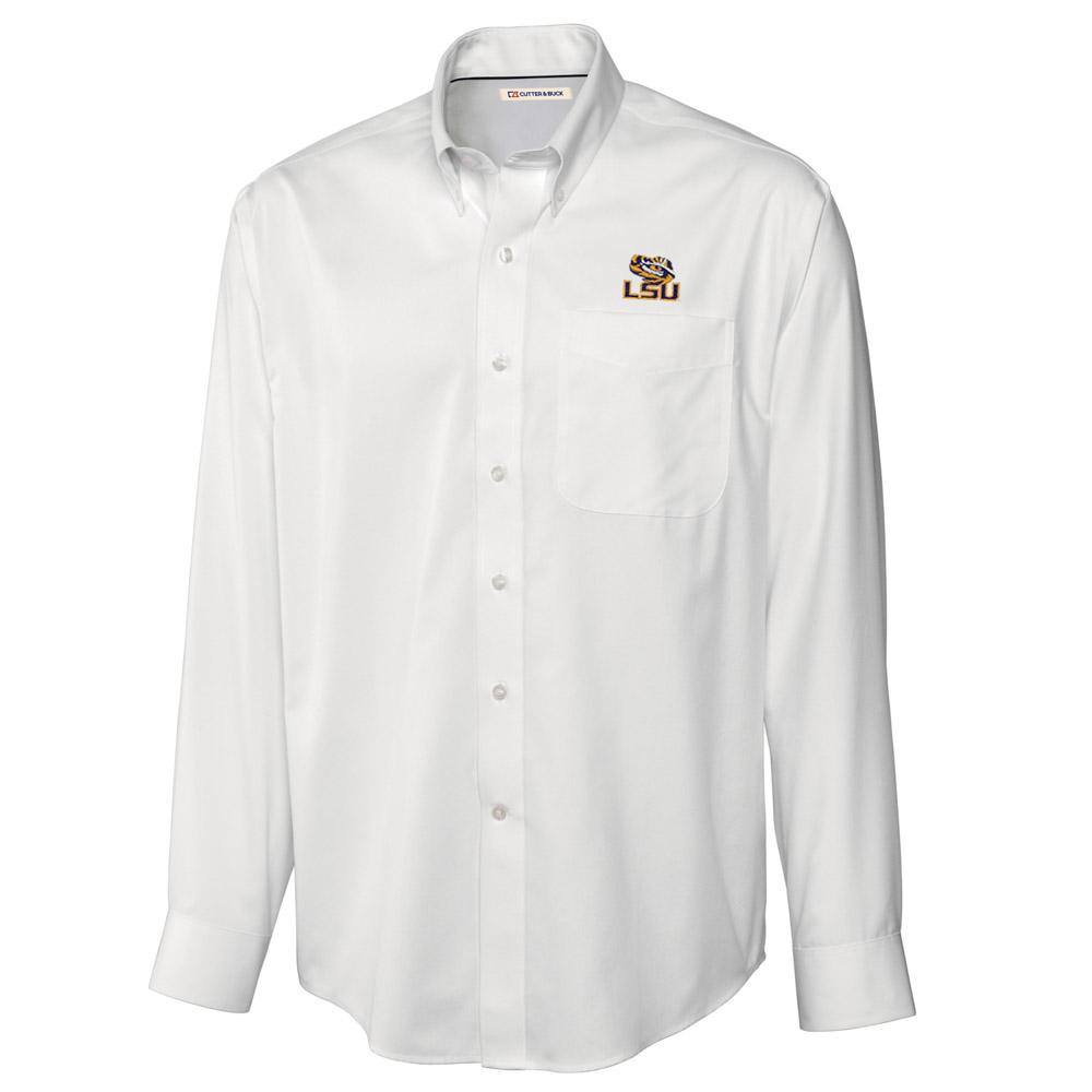 Lsu Cutter And Buck Big And Tall Fine Twill Button Down *** Custom Order ***