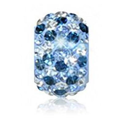 Sparkle Life Light Blue And Navy Speckled Crystal Bead