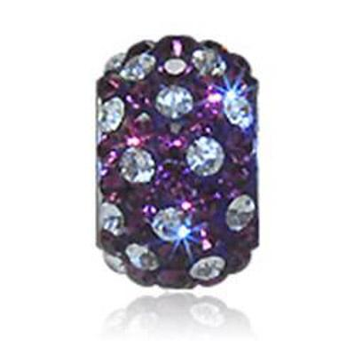 Sparkle Life Purple and White Polka Dot Crystal Bead