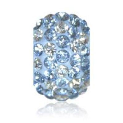 Sparkle Life Light Blue and White Polka Dot Crystal Bead