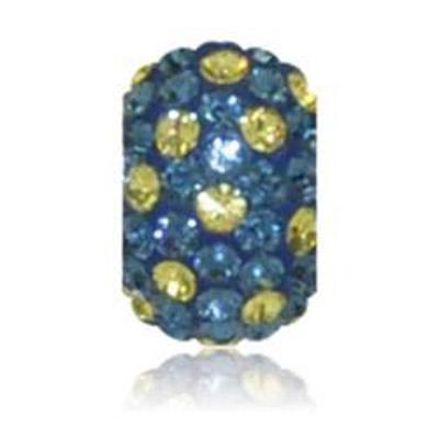 Sparkle Navy and Yellow Polka Dot Crystal Bead