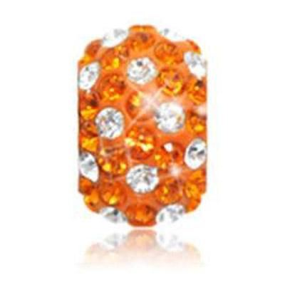 Sparkle Life Tangerine And White Polka Dot Crystal Bead