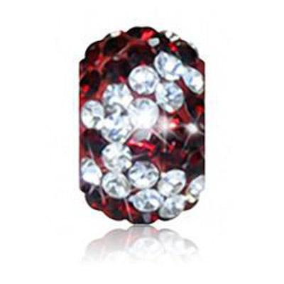Sparkle Life Siam Red and White Zebra Crystal Bead