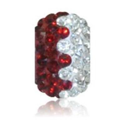 Sparkle Life Siam Red and White Zig Zag Crystal Bead