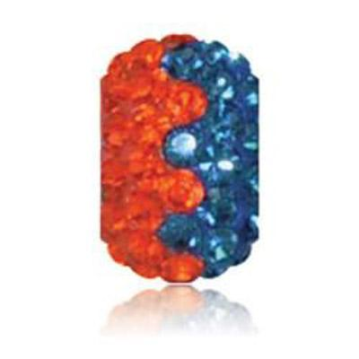 Sparkle Life Navy and Orange Zig Zag Crystal Bead