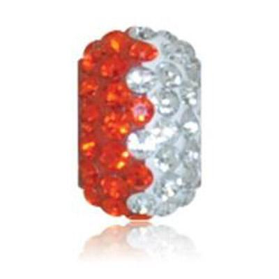 Sparkle Life Orange and White Zig Zag Crystal Bead
