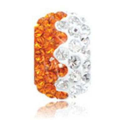 Sparkle Life Tangerine and White Zig Zag Crystal Bead