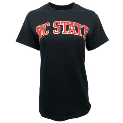 NC State Women's Metallic Outline Arch T-Shirt BLACK