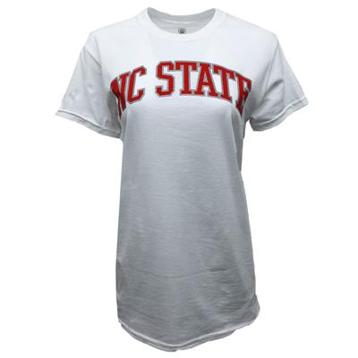 NC State Women's Metallic Outline Arch T-Shirt WHITE