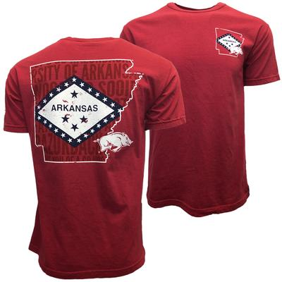 Arkansas Outline Flag Fill Comfort Colors Tee