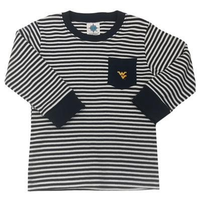 West Virginia Toddler L/S Striped Pocket T-Shirt