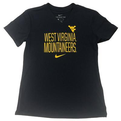 West Virginia Nike Girls Dri-Fit Legend V Neck Short Sleeve Tee