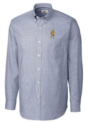 West Virginia Cutter & Buck Vault Tattersall Woven Shirt