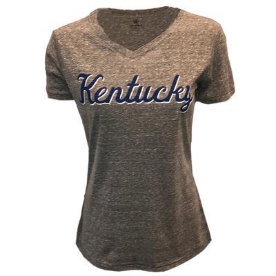 Kentucky Women's Triblend V Neck Script Tee
