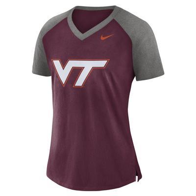 Virginia Tech Nike Women's V-Neck Top