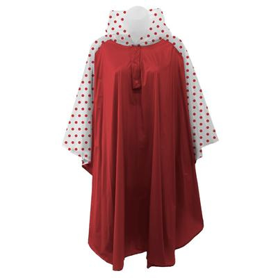 Crimson And White Polka Dot Rain Poncho