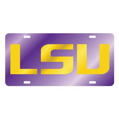 LSU License Plate Purple and Gold LSU Logo