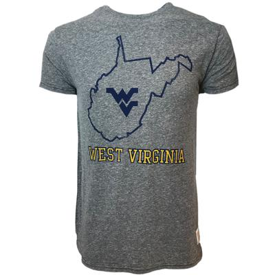 West Virginia Retro Brand State Outline Streaky Tee