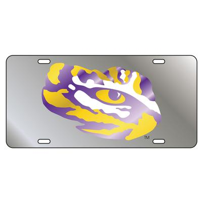 LSU License Plate Silver Tiger Eye