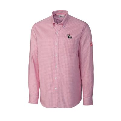 NC State Cutter And Buck Vault Logo Tattersall Woven Shirt