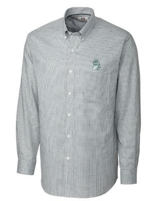 Michigan State Cutter And Buck Tattersall Woven Dress Shirt