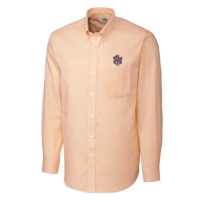 LSU Cutter And Buck Vault Logo Tattersall Woven Shirt
