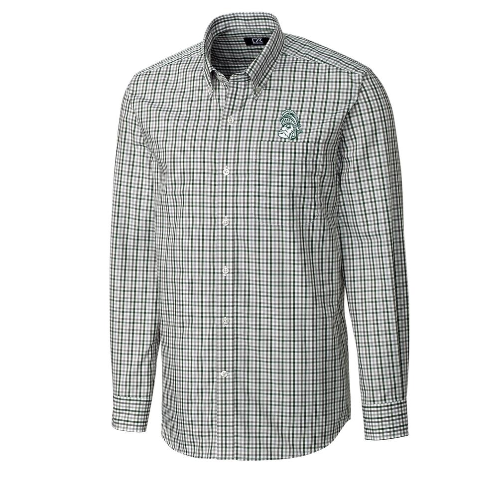 Michigan State Cutter And Buck Gilman Woven Button Down