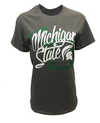 Michigan State Women's Script Over State Tee
