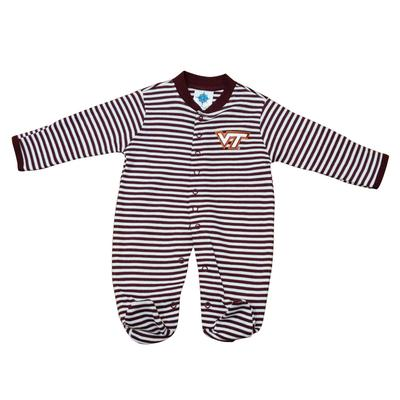Virginia Tech Infant Striped Footed Romper