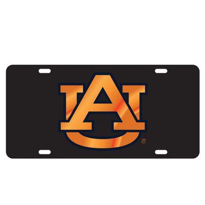 Auburn License Plate Black With Orange Logo