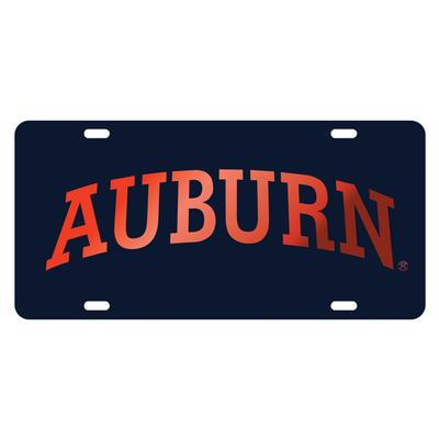 Auburn License Plate Navy With Orange Text