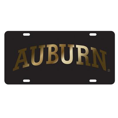 Auburn License Plate Black With Gold Text