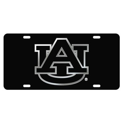 Auburn License Plate Black With Silver Logo