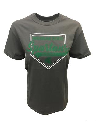 Michigan State Home Plate Script Baseball Tee