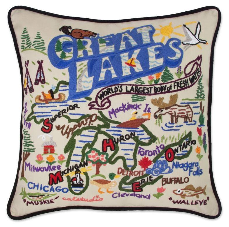 Great Lakes Hand Embroidered Pillow