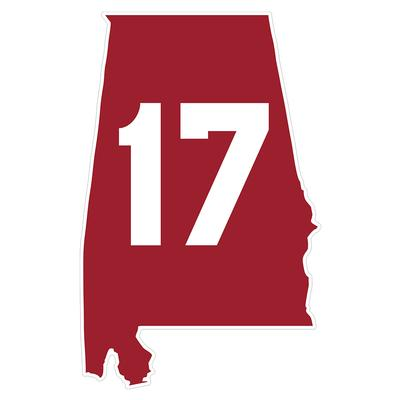 Alabama #17 State Outline Decal 4